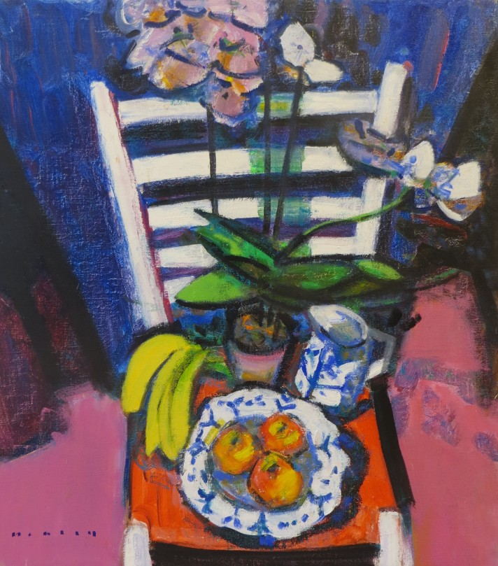 Above: Mike Healey I Bananas in Studio Chair I Oil on canvas I 20 x 18
