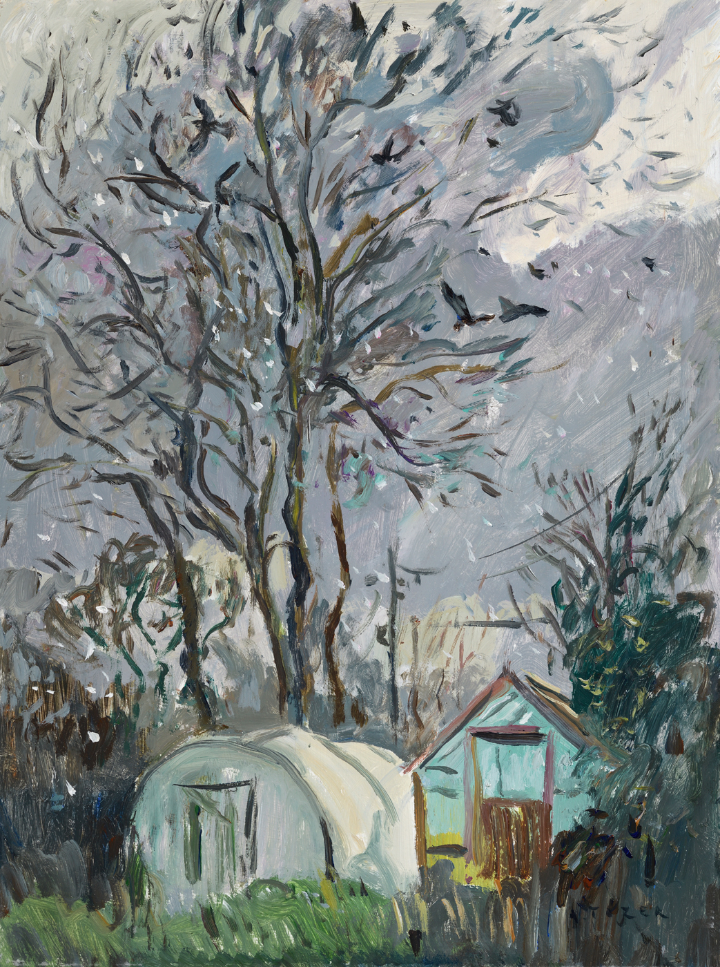A Winter Scene with rooks and sleet by  Andrew Tozer