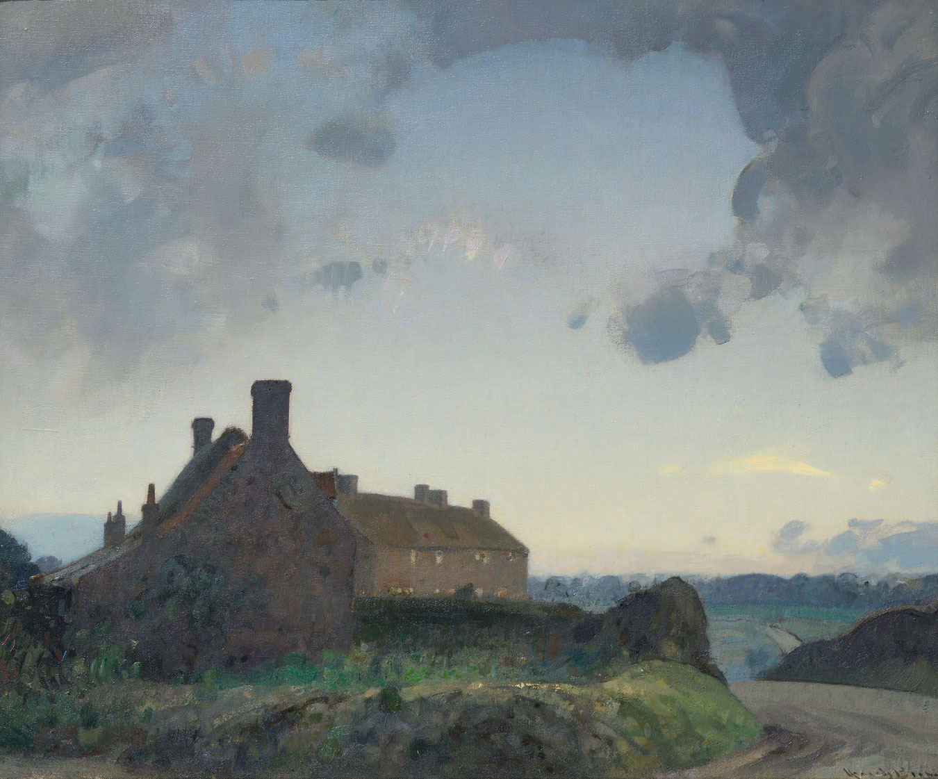 The End of the Village, Hadiscoe by  Sir John Alfred Arnesby Brown (1866 - 1955)