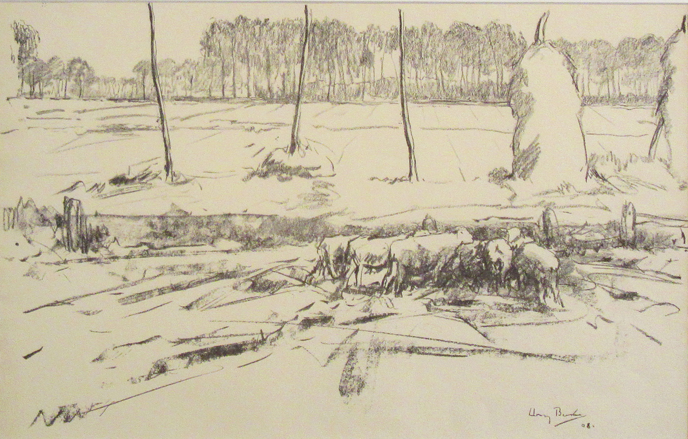 Sheep and Stooks, 1908 by  Harry Becker (1865-1928)