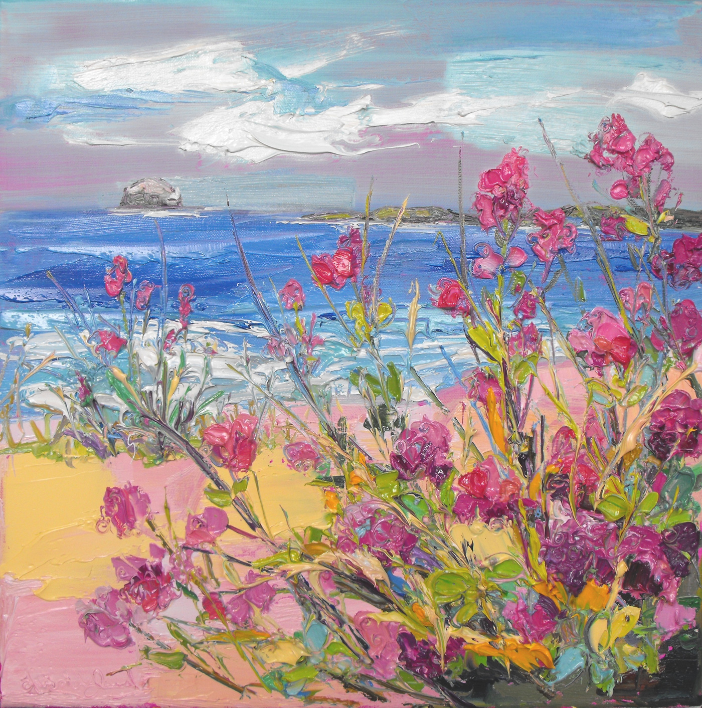 Bass Rock with Red Valerian by  Judith Bridgland