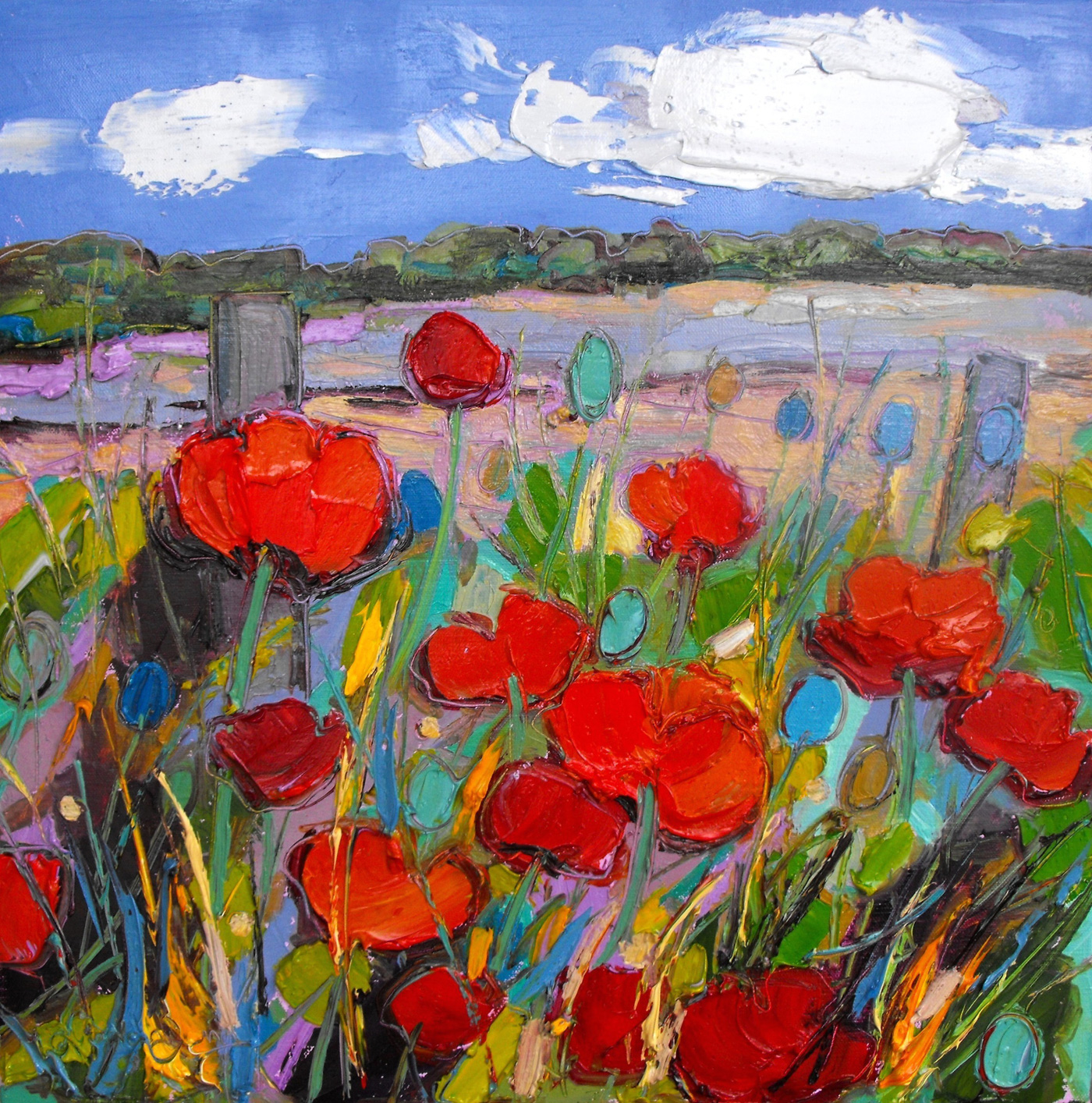 Poppies by the Fence by  Judith Bridgland