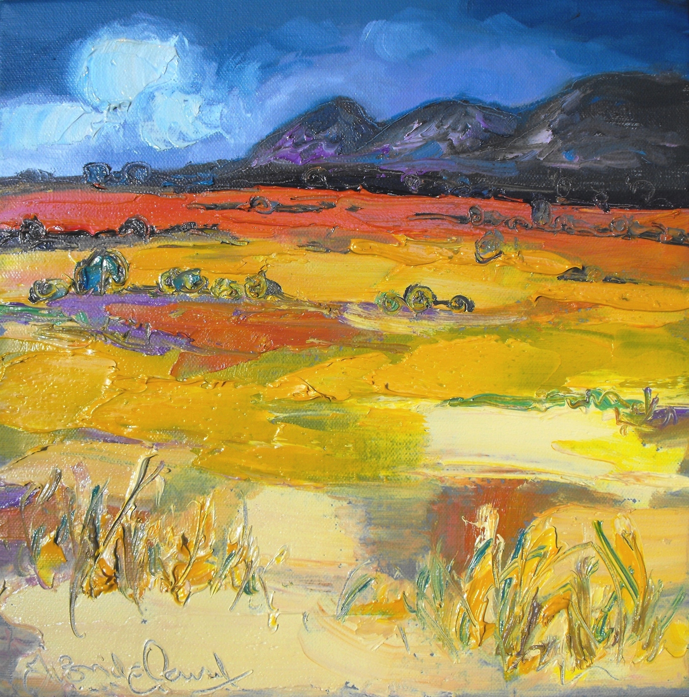 Yellow Moorland, the Campsies by  Judith Bridgland