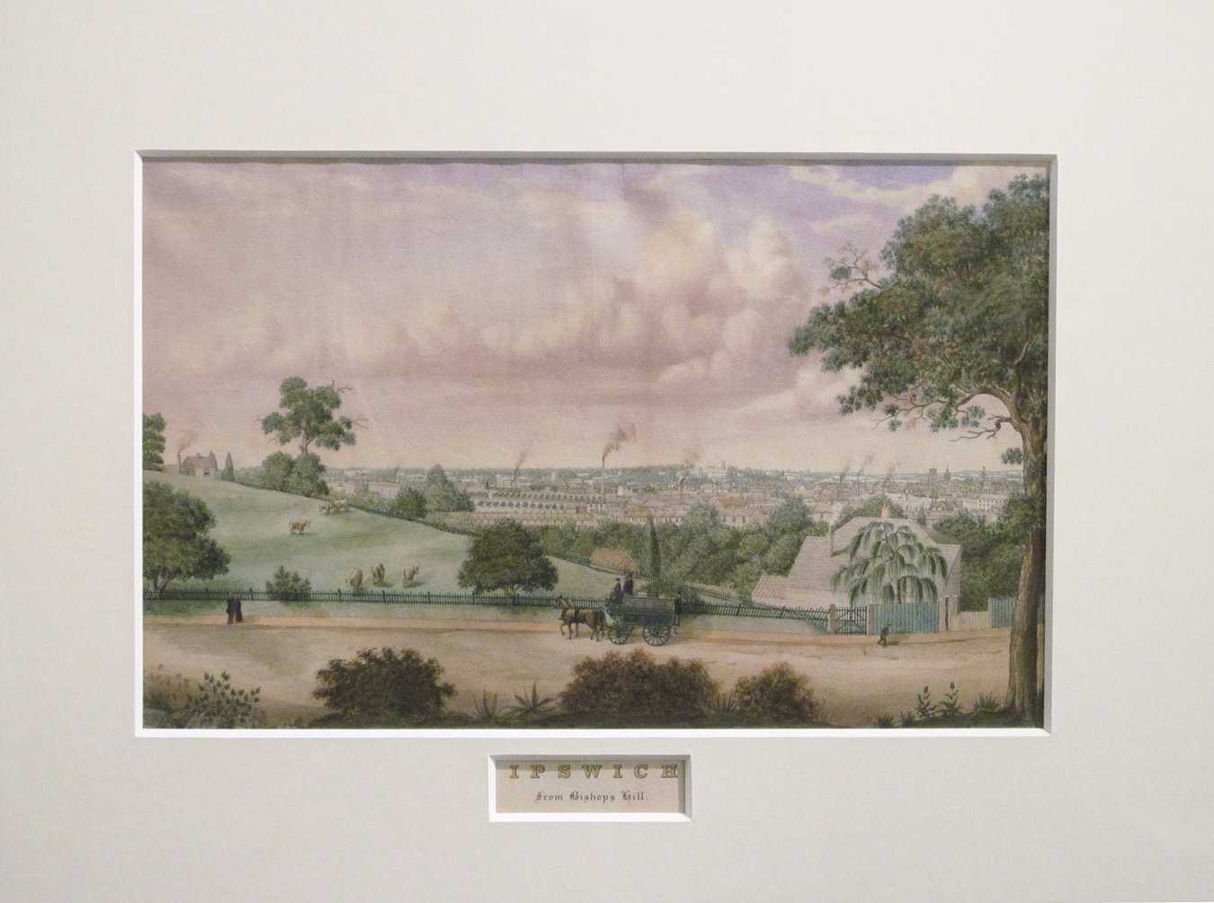 Ipswich from Bishop's Hill  c1865 by  S Clark (1834-1912)
