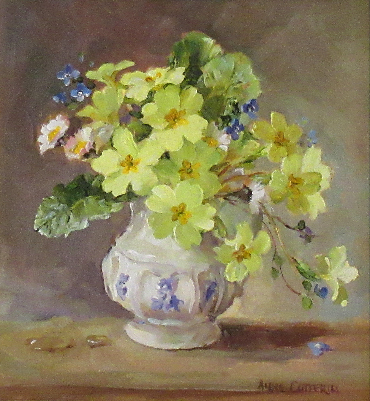 Primroses, Violets and Daisies by  Anne Cotterill (1933-2010)