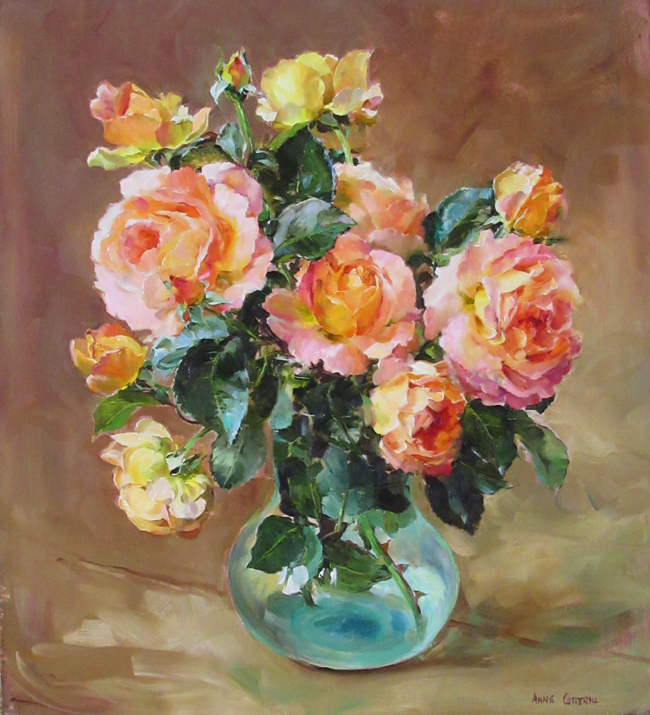 Orange Roses by  Anne Cotterill (1933-2010)