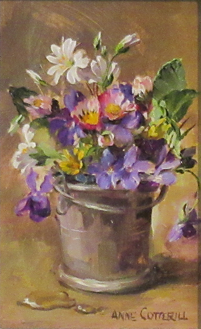 Violets, Daisies, Stitchwort and Celandine in a Metal Pot by  Anne Cotterill (1933-2010)