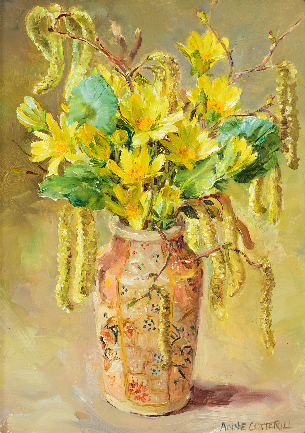 Wood Aconites & Catkins by  Anne Cotterill (1933-2010)