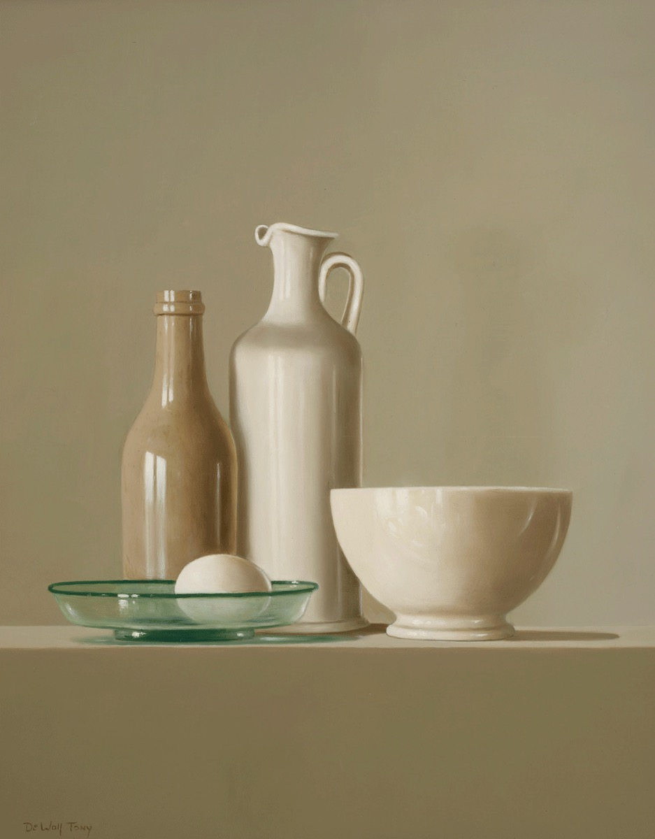 Still Life Pots with Egg by  Tony de Wolf