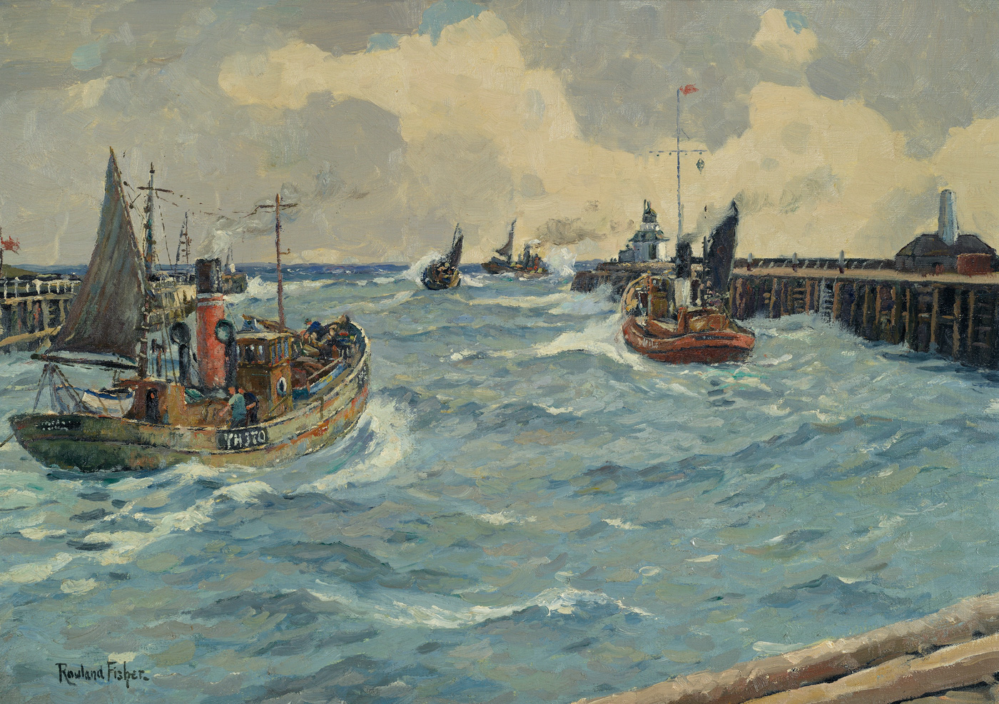 Drifters Leaving Gorleston by  Rowland Fisher RA RMSA ROI 1885-1969