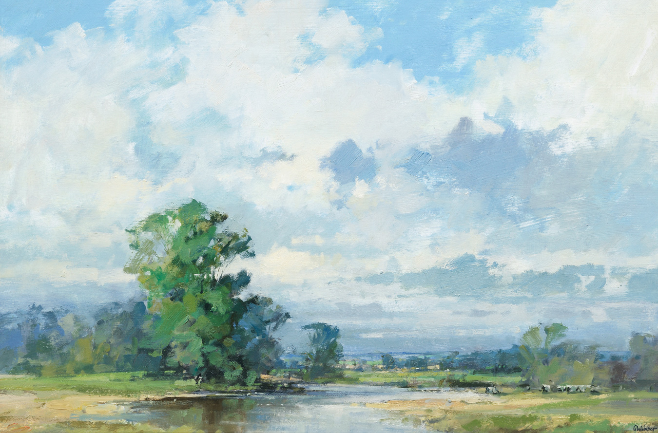 Cattle by the River Stour by  Graham Webber ROI IEA