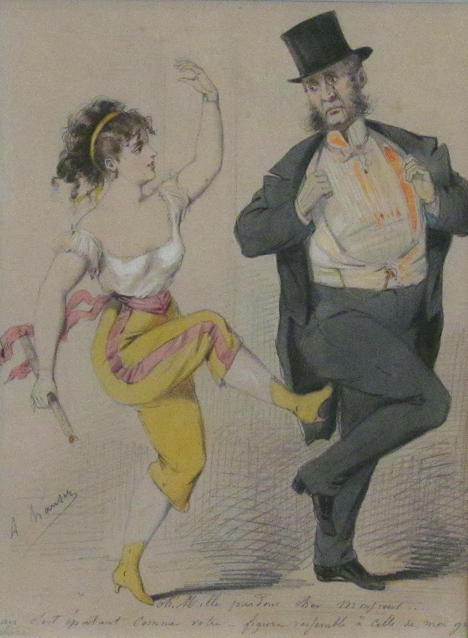 French Risque Scene c1900 inscibed with pencil 6 by  Arthur Hauser (19th c French)