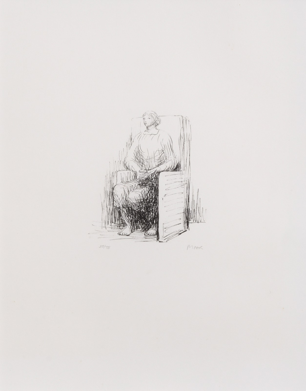 Seated Woman in Armchair by  Henry Moore OM CH FBA  (1898-1986)