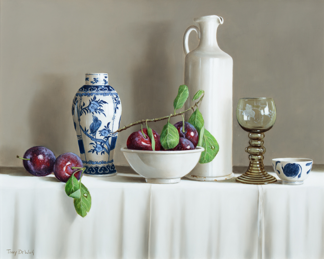 Jugs and Freshly Picked Plums by  Tony de Wolf