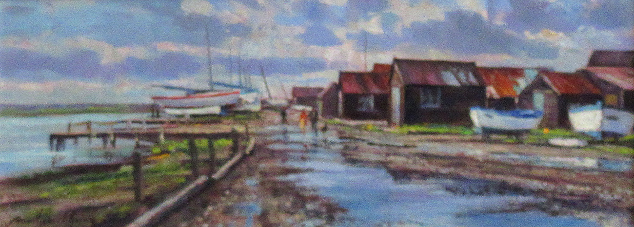 Fishing Huts & Puddles, Southwold Harbour by  Andrew King ROI EAGMA IEA