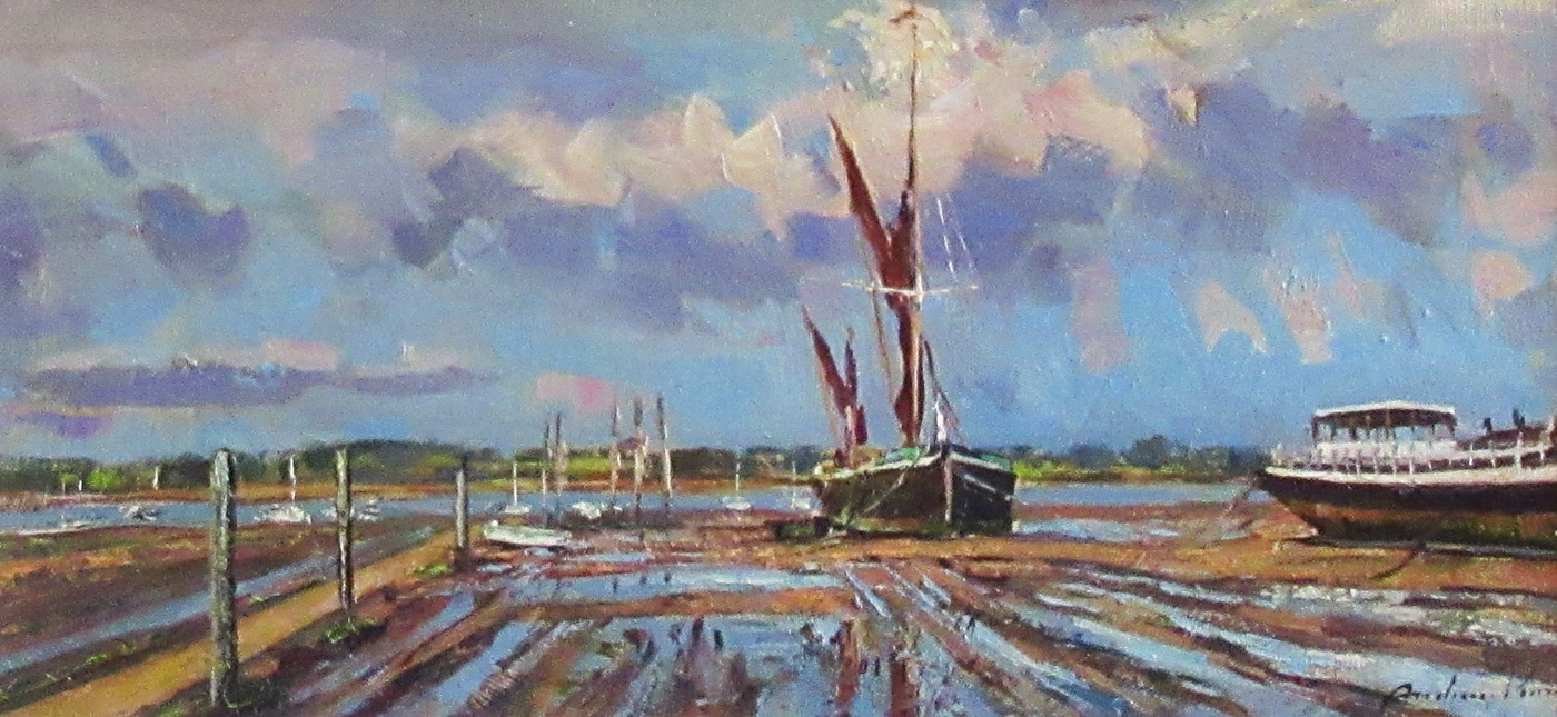 Showery Day, Pin Mill by  Andrew King ROI EAGMA IEA