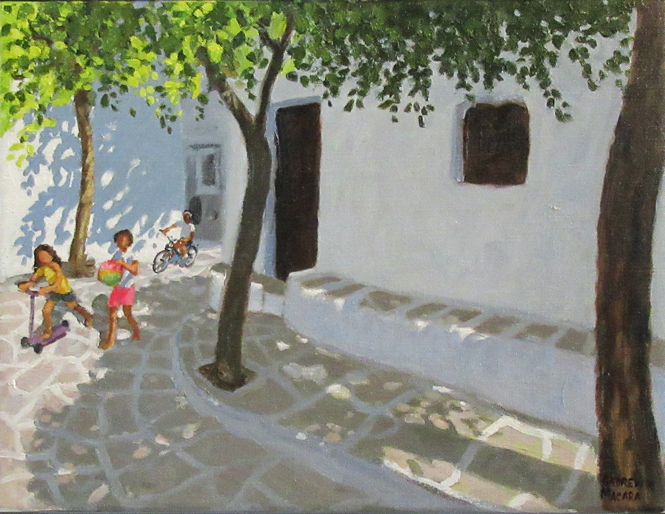 Three Girls, Chora, Folegandros, Greece by  Andrew Macara RBA NEAC