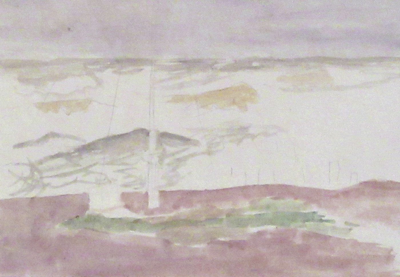 Beach, Flagpole Sketch by  Mary Potter OBE (1900-1981)