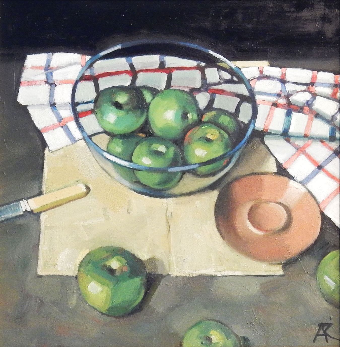 Still Life with Green Apples by  Alexander R Robb