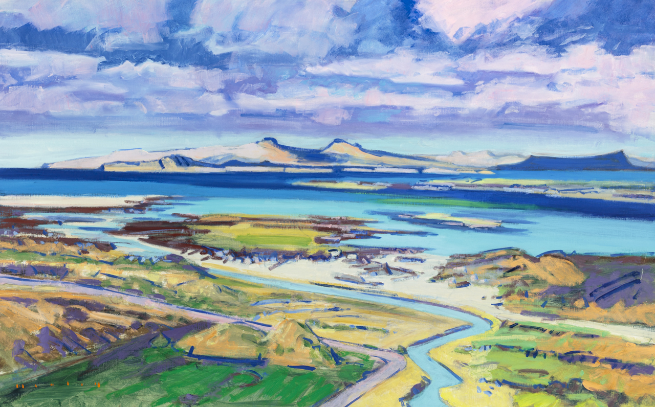 Ardnamurchan looking westwards with Eigg, Rhum and Skye.  by  Mike Healey