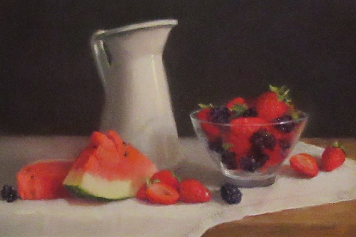 Pitcher with Strawberries and Melon