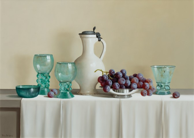 Blue Glass and Grapes
