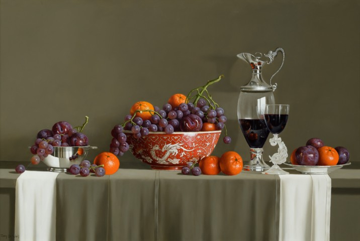 Asian Bowl, Fruit and Grapes