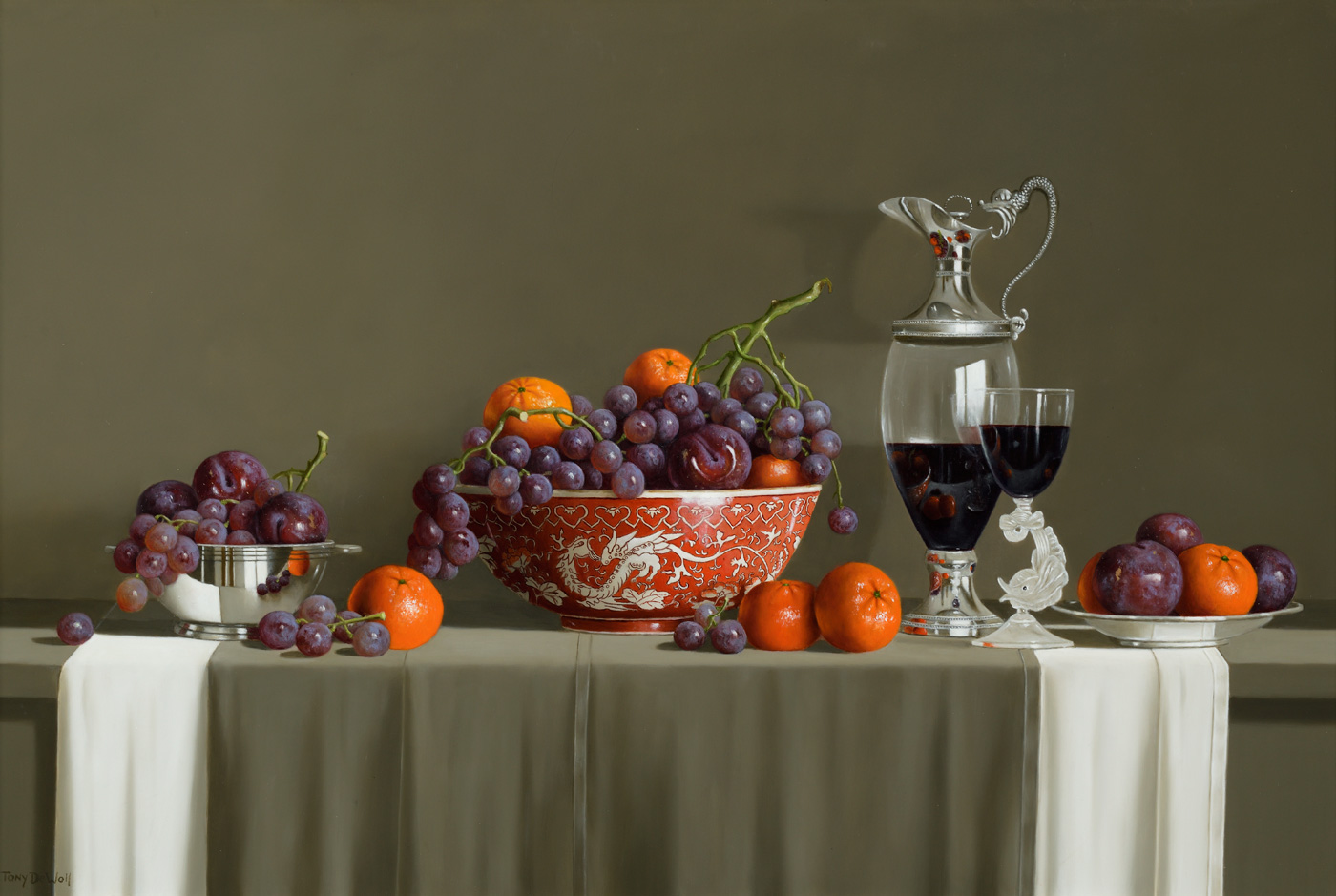 Asian Bowl, Fruit and Grapes by  Tony de Wolf