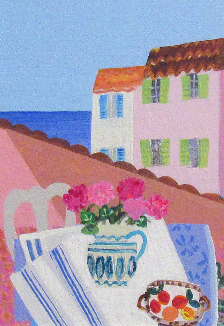 Geraniums on the Balcony, Antibes by  Emma Williams